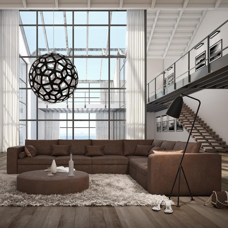 ecksofa wohnlandschaft couch polsterecke dunkelbraun kunstleder 320x240cm b ware ebay. Black Bedroom Furniture Sets. Home Design Ideas
