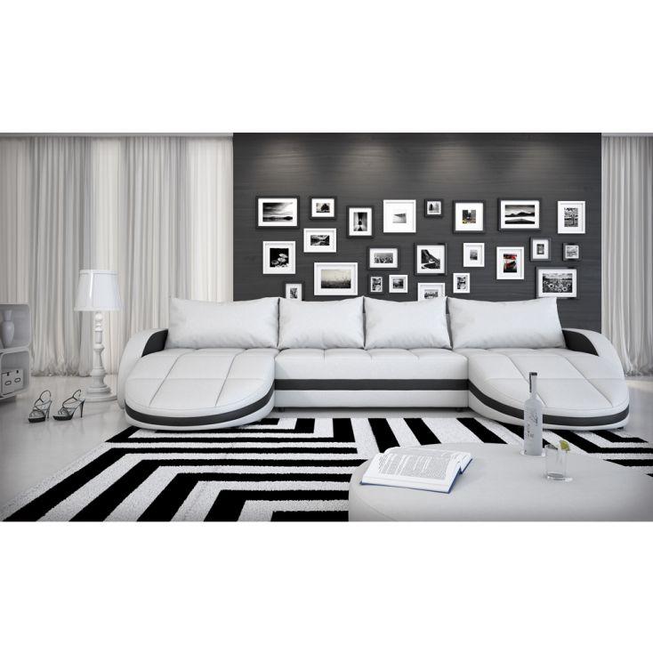 wohnlandschaft sofa ecksofa aus kunstleder mit led gerom wei schwarz b ware ebay. Black Bedroom Furniture Sets. Home Design Ideas