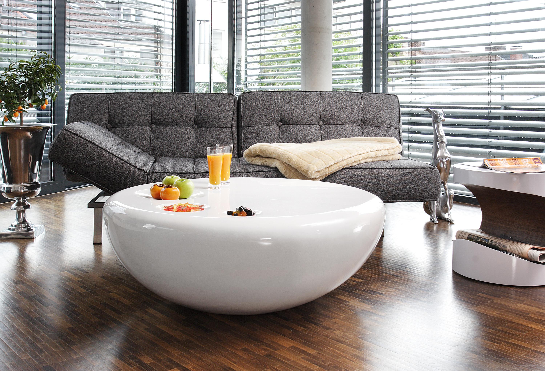 Couchtisch Wohnzimmertisch Tisch Rund Hochglanz weiß aus ...