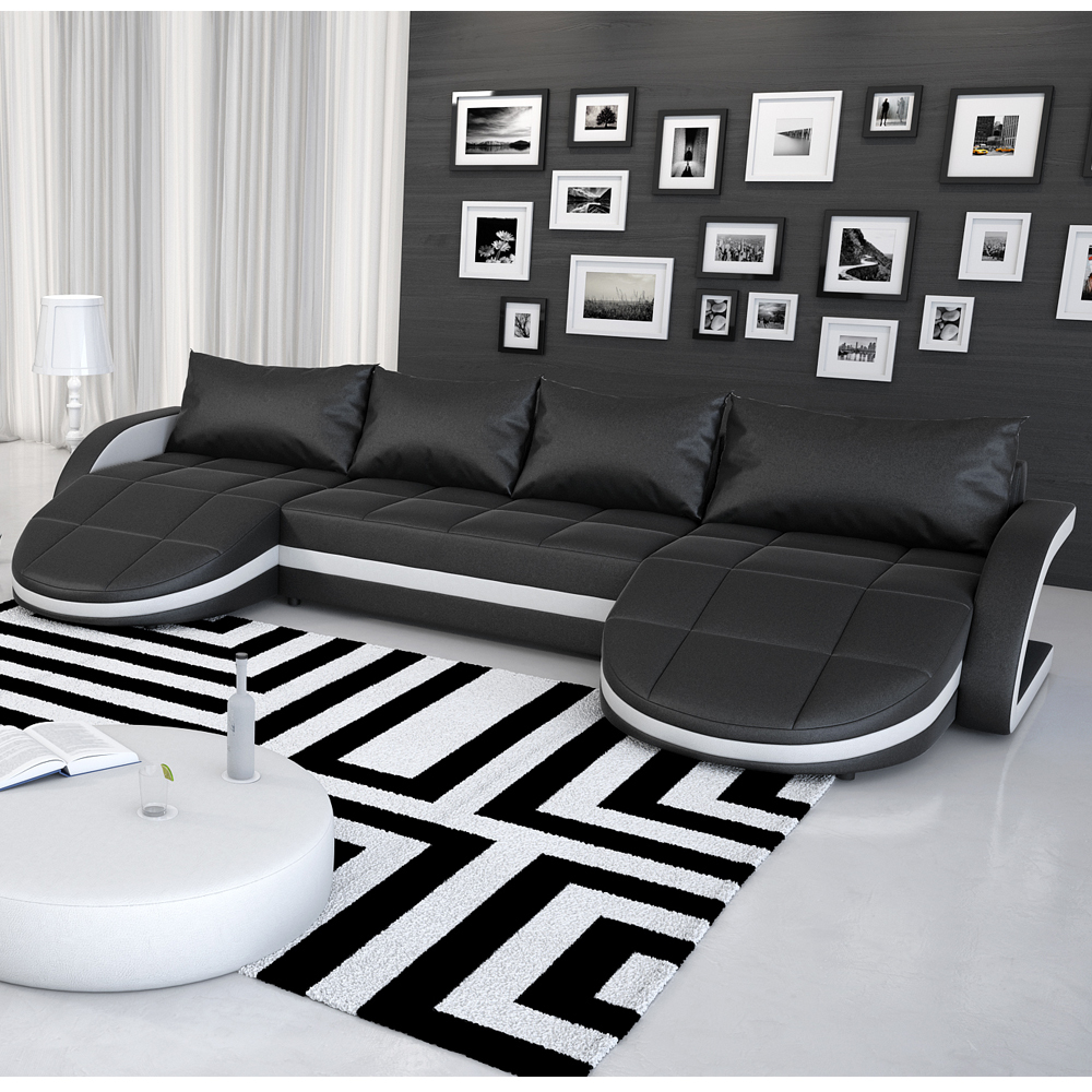 wohnlandschaft sofa ecksofa aus kunstleder mit led gerom schwarz wei b ware ebay. Black Bedroom Furniture Sets. Home Design Ideas