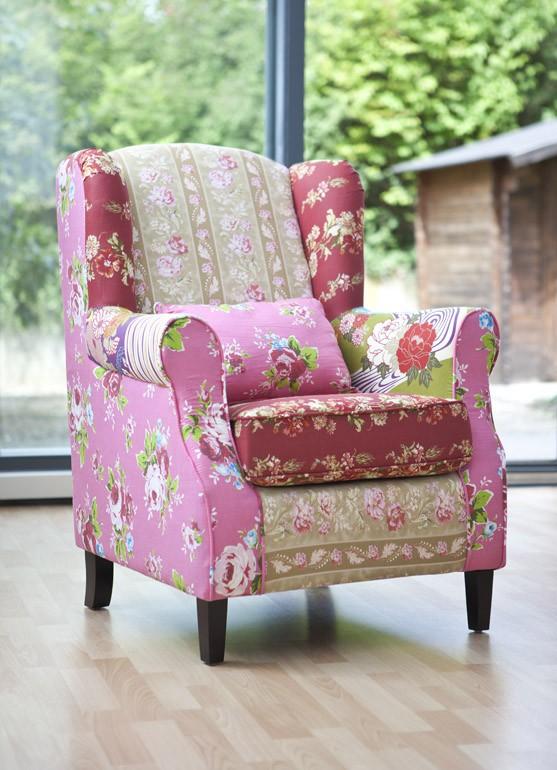 sessel relaxsessel ohrensessel patchwork bunt baumwollbezug ebay. Black Bedroom Furniture Sets. Home Design Ideas